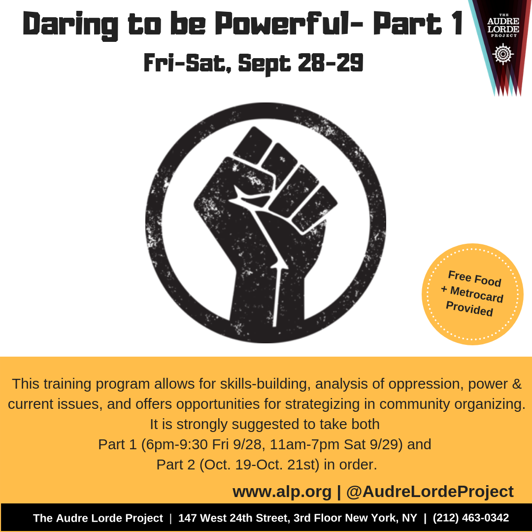 Daring to be Powerful (DTBP) is one of NYC's best training on community  organizing, power, & oppression for Lesbian Gay Bisexual Two-Spirit Trans &  Gender ...