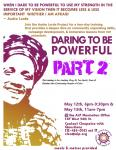 Flyer showing text on details for Daring to be Powerful with a picture of Audre Lorde