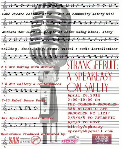 microphone and sheet music with description of event, and FIERCE, Streetwise and Safe, and ALP Logos